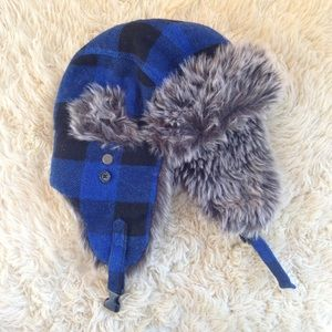 Hot topic blue plaid faux fur aviator winter hat